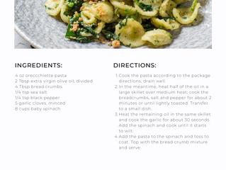 Spinach and Garlic Orecchiette