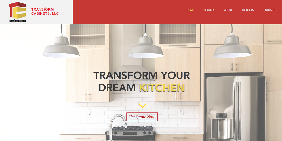 Transform Cabinets creates beautiful cabinetry and needed a website that represented their high-end work. Simple animations, parallax, bold text and a lightbox give his company the modern look they were going for.