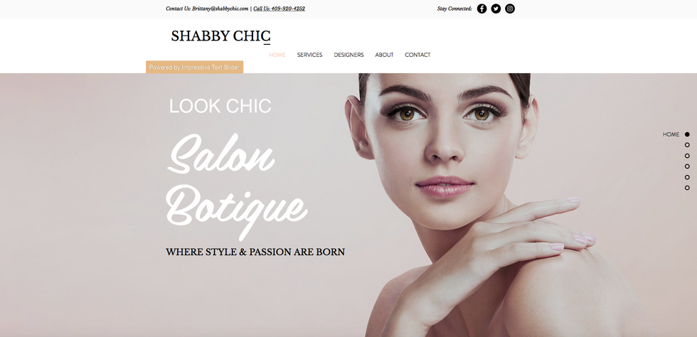 This is a fun site for a hair salon. It's has a simple flow, while displaying some of their products, services, hair stylists, and recent work from the instagram feed. Their site is not fully up since they got destroyed by Hurricane Harvey a year ago.