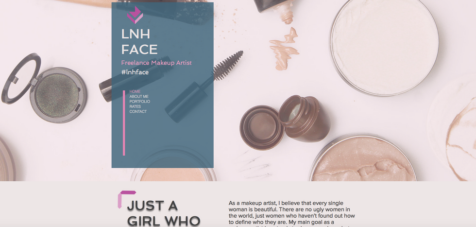 This is a very PINK and chic website for a makeup artist. It's simple for potential clients to follow, see an entire gallery of her work, and reach out to book an appointment.