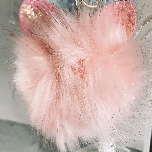Pink Fluffy Cat Pom Pom