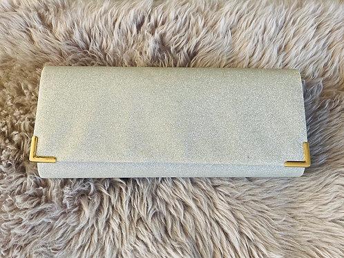 Silver Glitter Long Clutch Bag