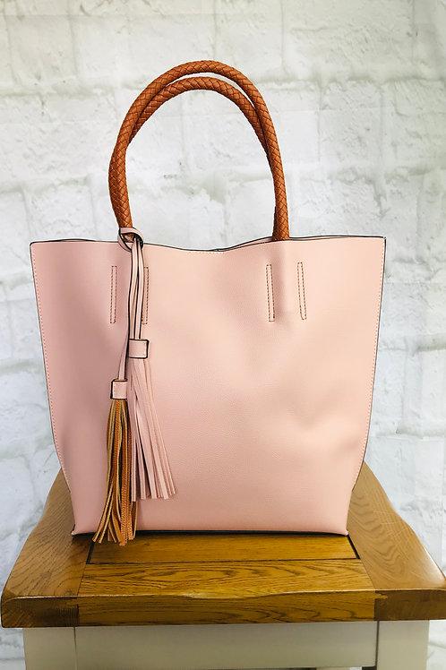 Pink and Tan Tassel Tote