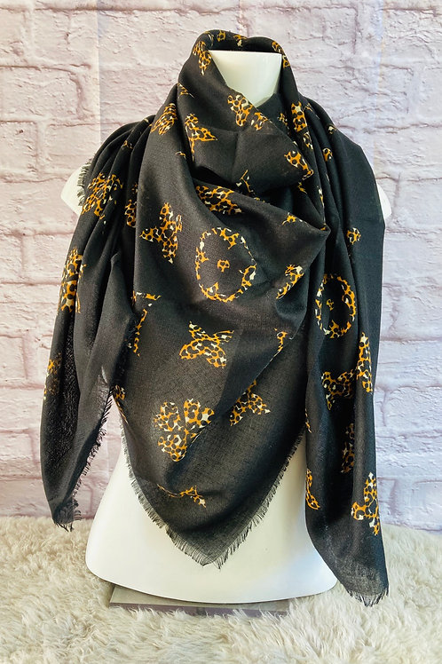 Leopard Flower Motif Print Large Scarf in Black