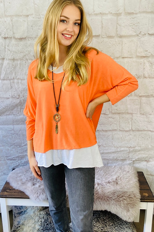 Coral Layered Top with Necklace