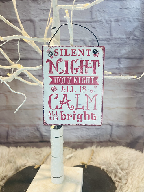 Silent Night Mini Metal Hanging Sign