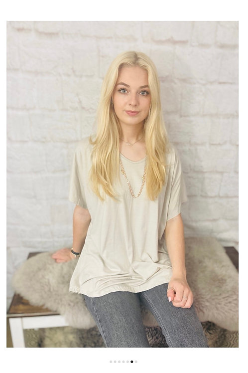 Oversized T-Shirt with Starement Necklace in Beige
