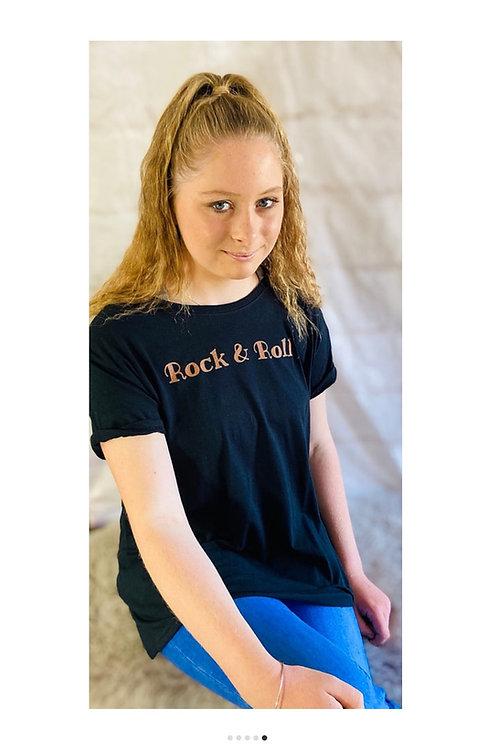 'Rock & Roll' T-Shirt in Black