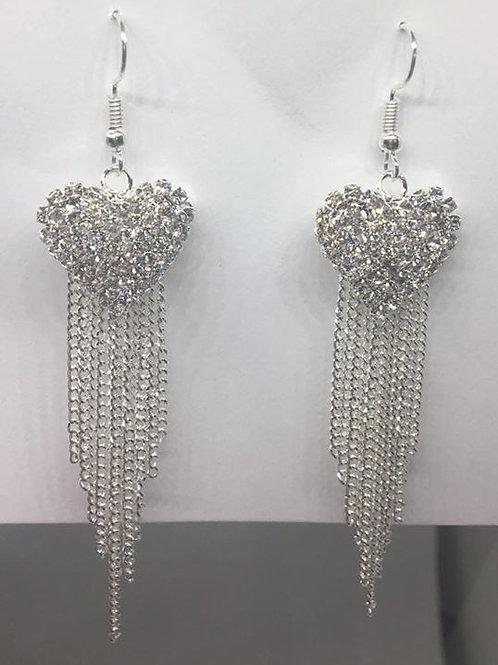 Silver Heart Tassel Earrings