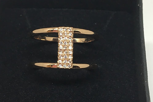 Rose Gold Diamanté Bar Ring