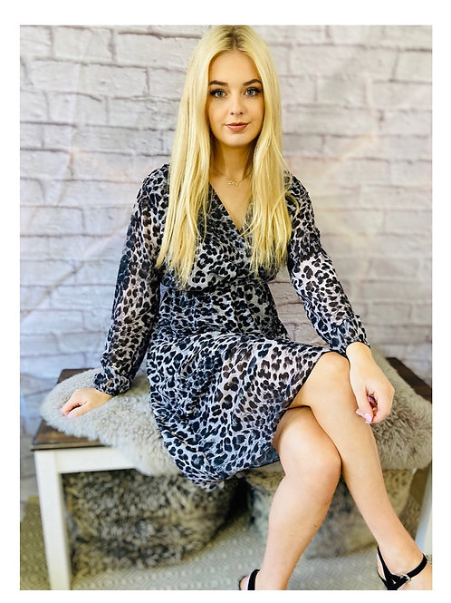Leopard Print Chiffon Wrap Dress in Grey