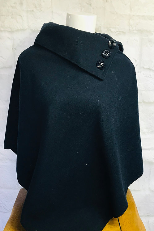 Button Detail Poncho in Navy