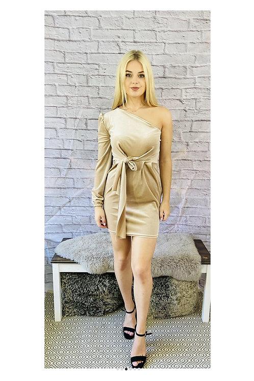 Velvet Velour One Shoulder Dress in Champagne