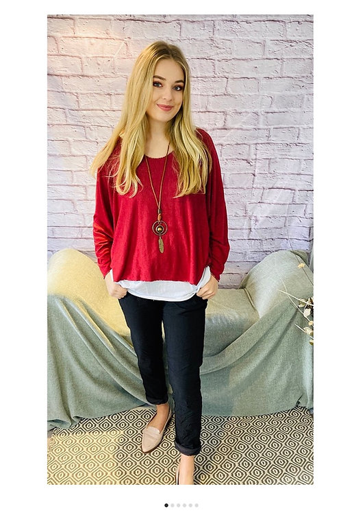 Red Layered Floaty Top with Necklace