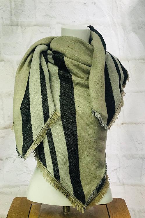 Beige/Grey Large Wrap Scarf