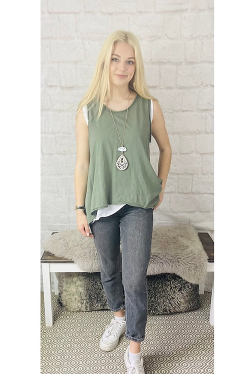 Asymmetrical Layered Sleeveless Top with Necklace in Khaki