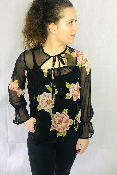 Floral Black Sheer Blouse