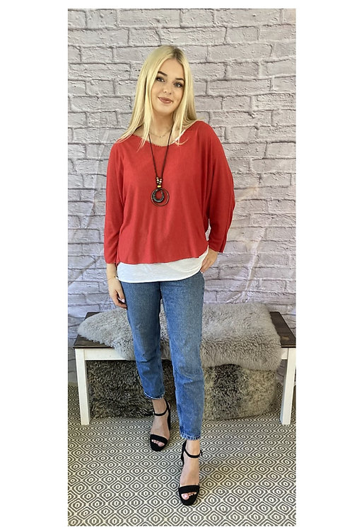 Layered Floaty Top with Necklace in Red