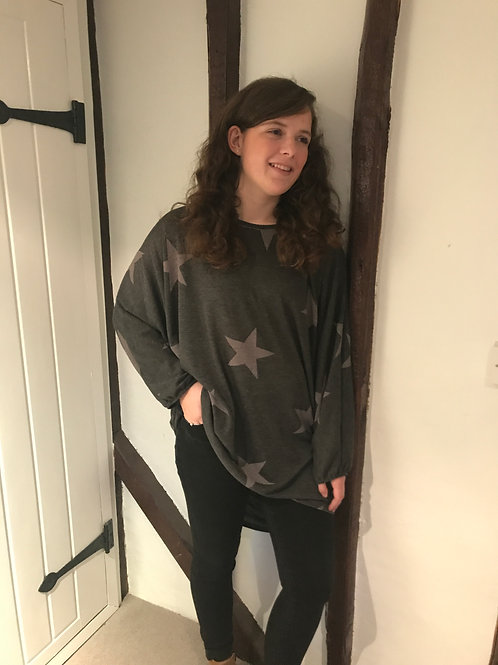 Charcoal Sloppy Joe Star Jumper/Jumper Dress