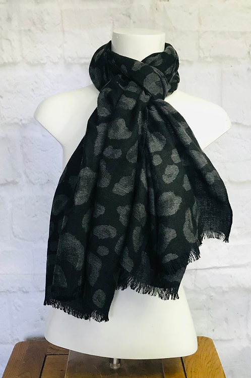 Leopard Print Scarf in Dark Grey