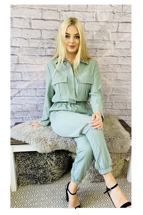 Utility Style Jumpsuit in Soft Green