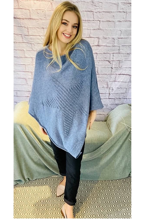 Ribbed Star Poncho in Blue