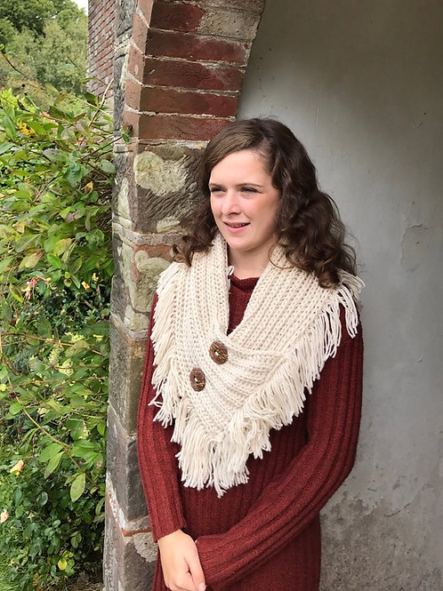 Beige Knitted Shawl/Snood