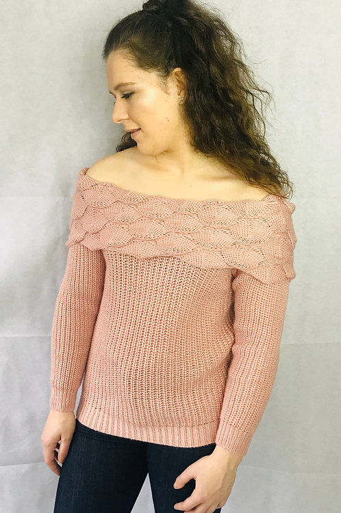 Rose Bobble Off Shoulder Knitted Jumper