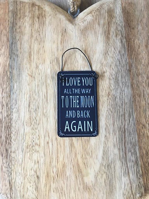 I love you to the moon mini sign