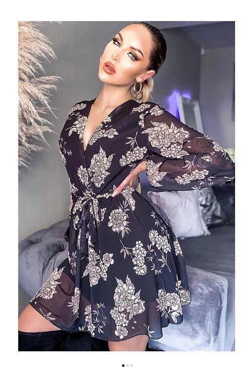 Floral Printed Chiffon Wrap Dress