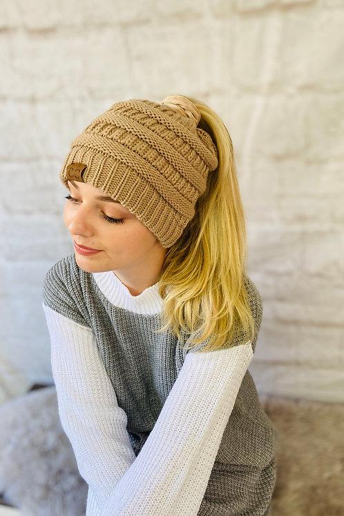 Ponytail Beanie Hat (Mocha)
