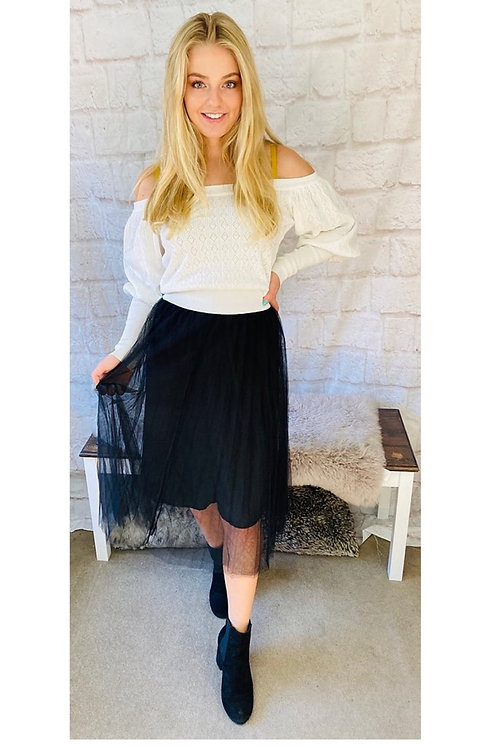 Mesh Layered Skirt in Black