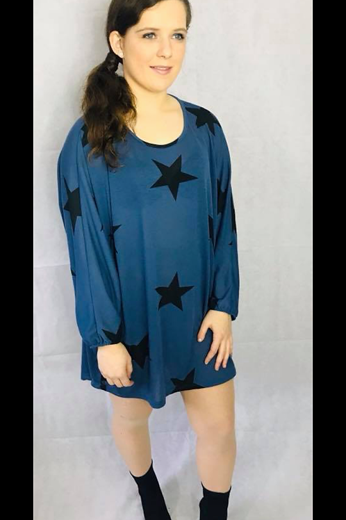 Petrol Blue Sloppy Joe Top with Black Stars