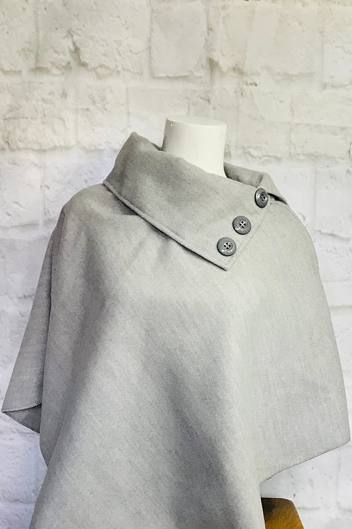 Button Detail Poncho in Grey