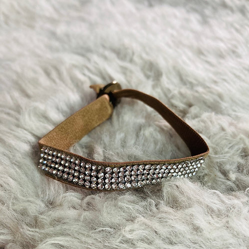 Stretchy Fabric Crystal Bracelet in Mocha