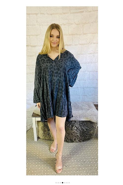 Flare Smock Dress in Leopard Print