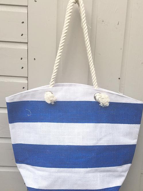 Blue/White Stripe Beach Bag