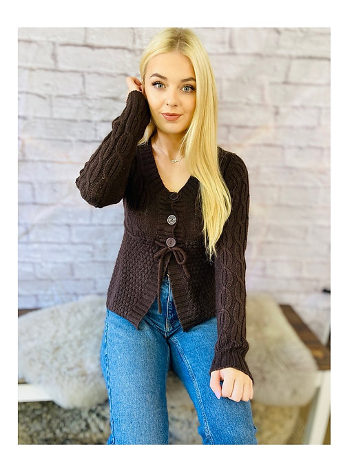 Chunky Knit Cardigan in Chocolate Brown