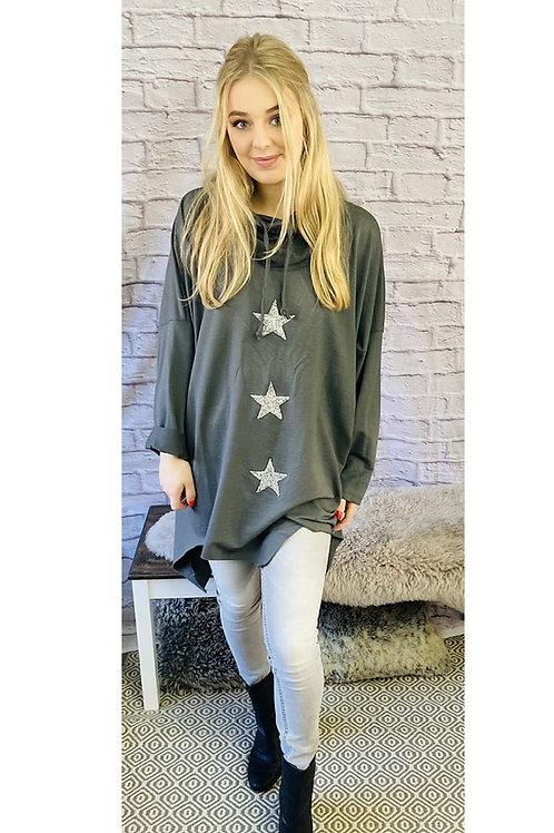 Sparkling Stars Sweatshirt in Grey