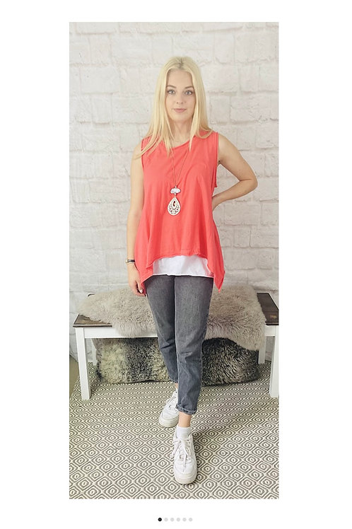 Asymmetrical Layered Sleeveless Top in Coral with Statement Necklace
