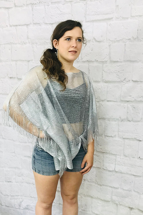 Shimmer Silver Beach Cover Up/Top