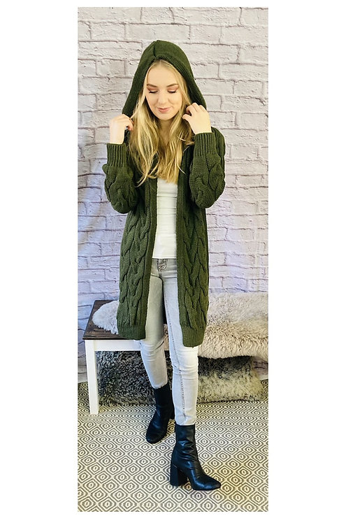 Hooded Cable Knit Longline Cardigan
