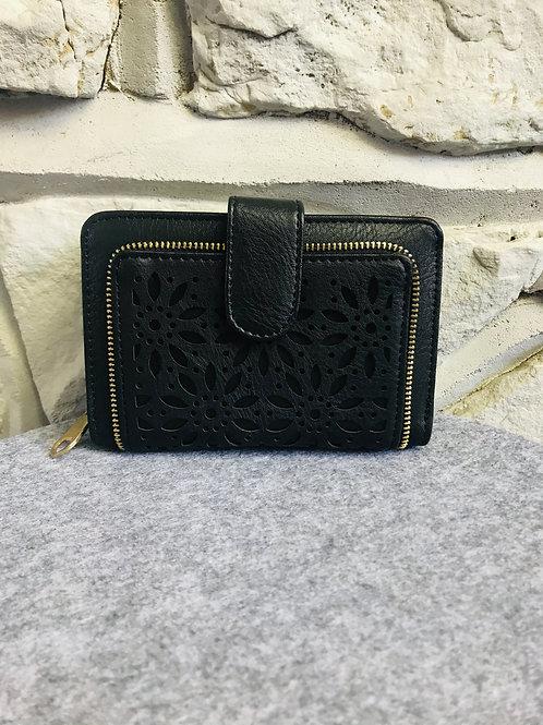 Flower Cut Wallet/Purse in Black