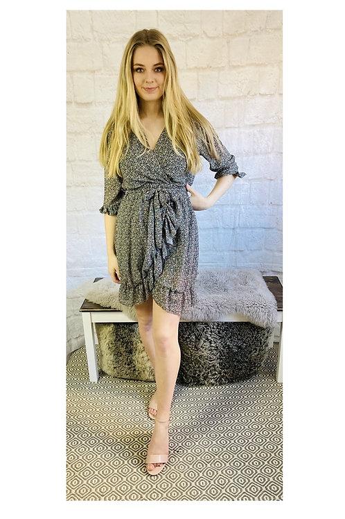 Ditsy Frill Wrap Dress