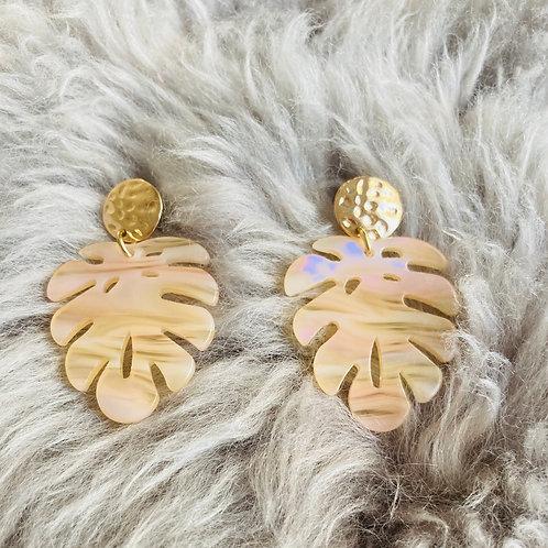 Palm Tree Leaf Earrings in Beige