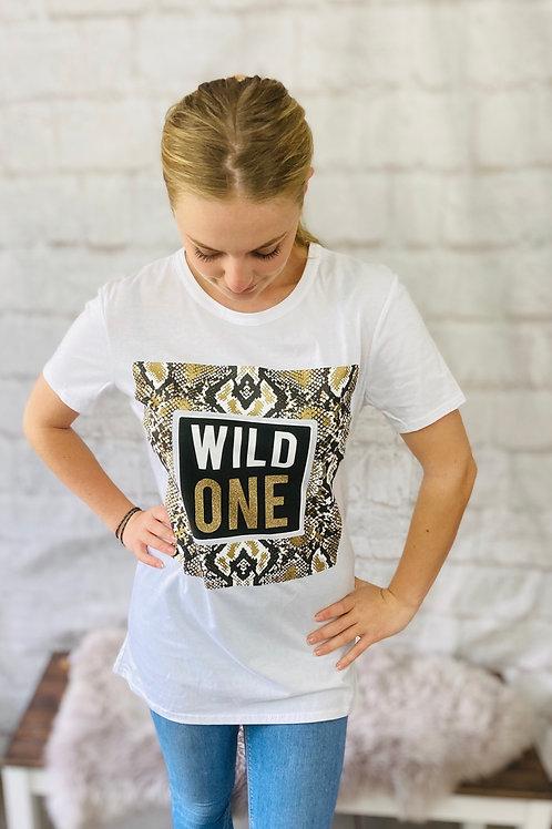 'Wild One' Snake Print Tee