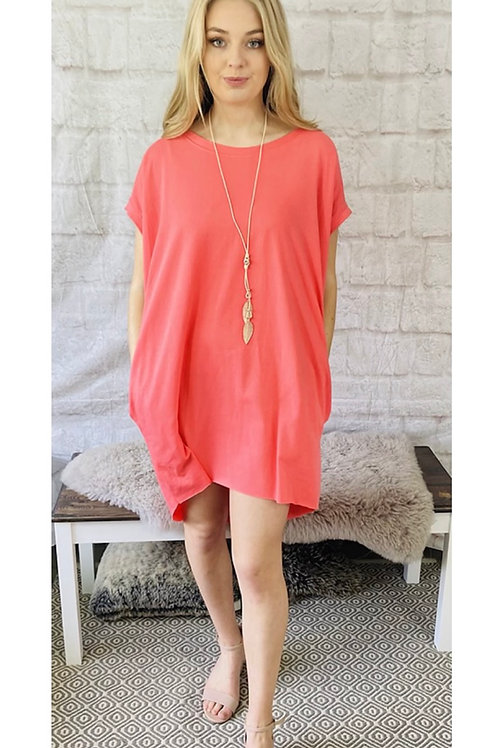 Oversized Top with Statement Necklace in Coral