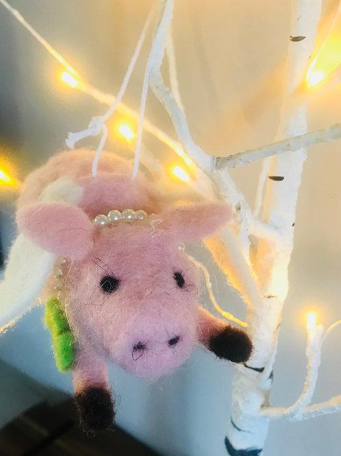 'Peggy' Flying Felt Pig