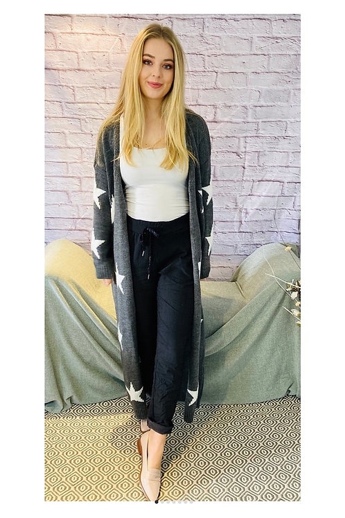 Star Print Long Knitted Cardigan in Grey
