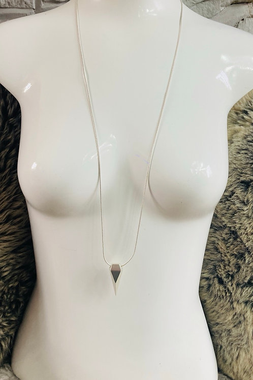 Geometric Pendant Necklace in Silver